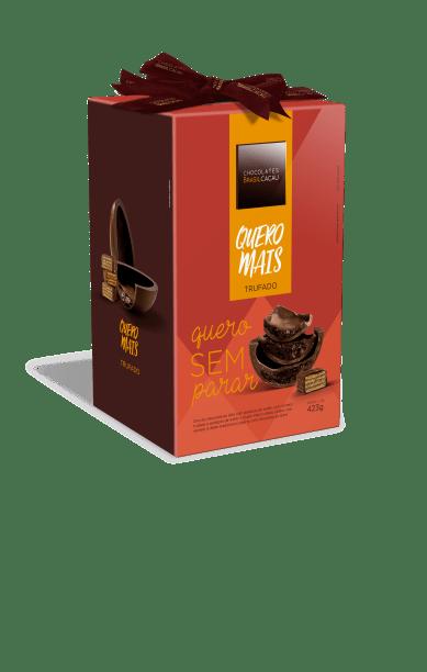 Brasil Cacau: Ovo Quero Mais (400g). Chocolate ao leite e wafer, com recheio trufado tradicional e wafer. Preço: R$ 56,90.
