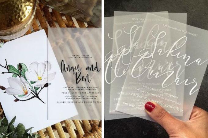 Convites transparentes para casamento