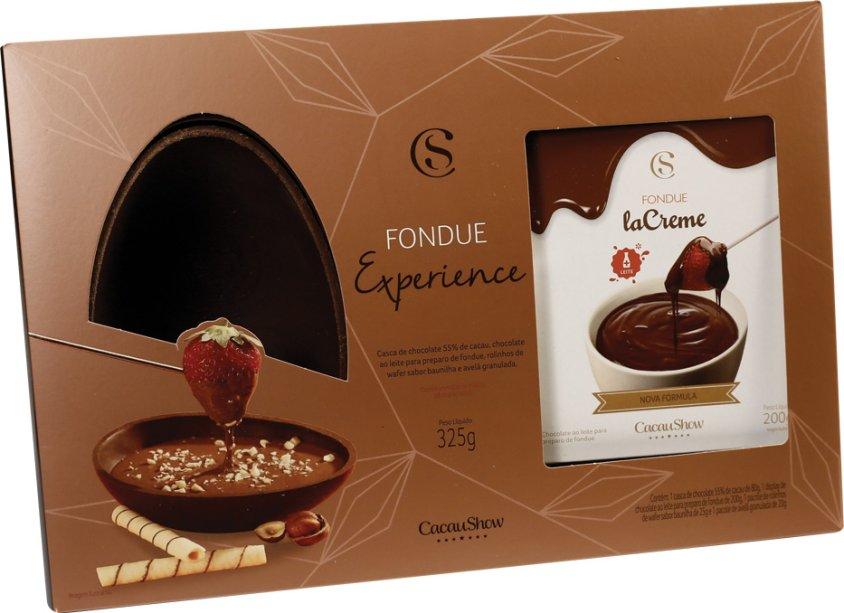 Fondue Experience (325 g): chocolate la Creme ao leite derretendo em uma casca 55%, composto por uma casca de ovo 55% cacau e fondue la Creme. O kit conta com canudinhos de wafer e avelã picada para servir com frutas. A partir de R$ 49,90.