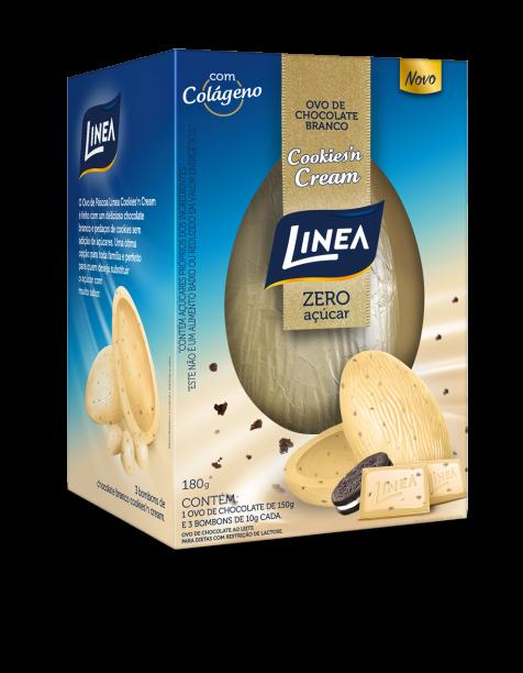 Ovo Cookies'n Cream (180g): combinação entre chocolate branco e pedacinhos de biscoitos, é o primeiro ovo de páscoa Cookies'n Cream sem açúcar e com fibras em sua formulação. Preço: R$ 27,90.