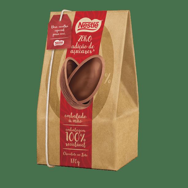 Nestlé Zero Açúcares – (170g): Chocolate ao leite sem adição de açúcares, embalagem 100% reciclável e embalado a mão. Preço médio: R$ 32,99 (sob consulta).