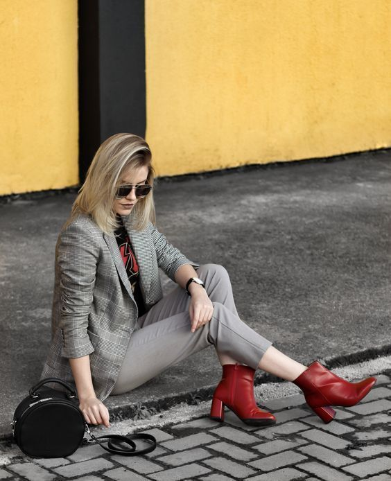 Ankle boot vermelha