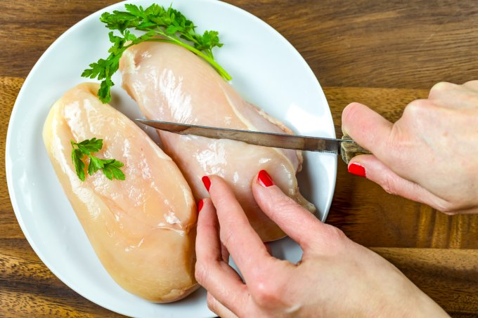 Cropped Hand Of Woman Cutting raw chicken breast.