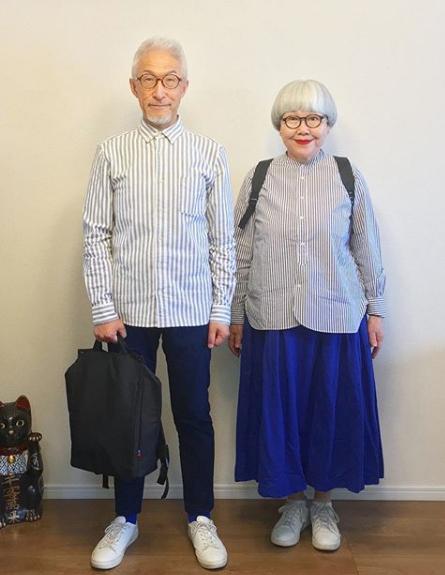 Casal que combina roupas