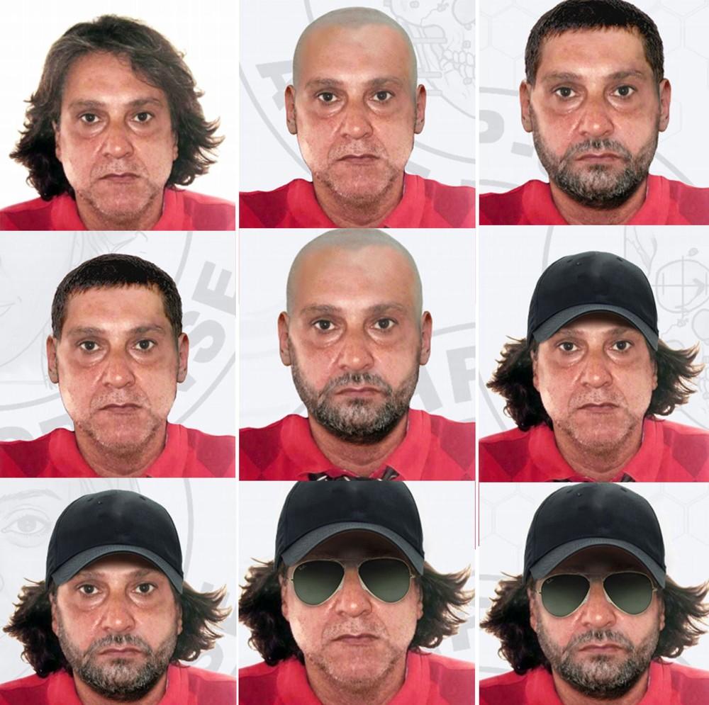 Simulações de disfarces que o assassino de Rafael Miguel pode estar usando