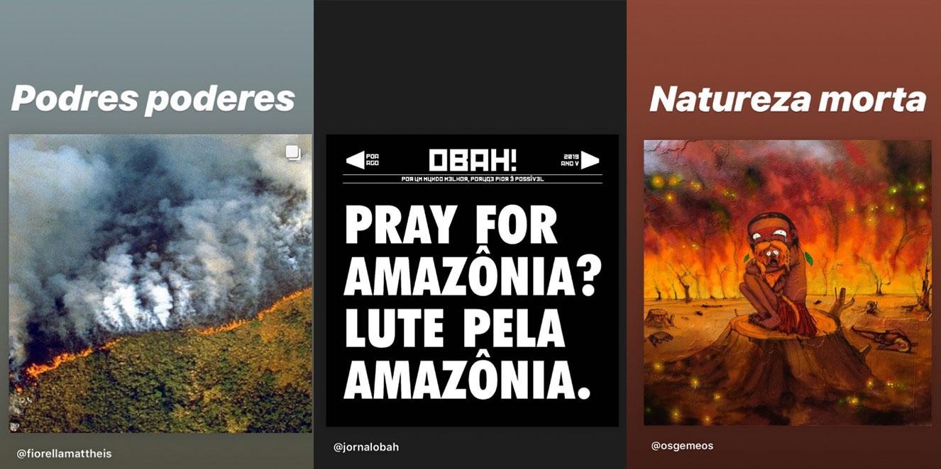 Stories de Bruno Gagliasso protestando contra as queimadas na Amazônia