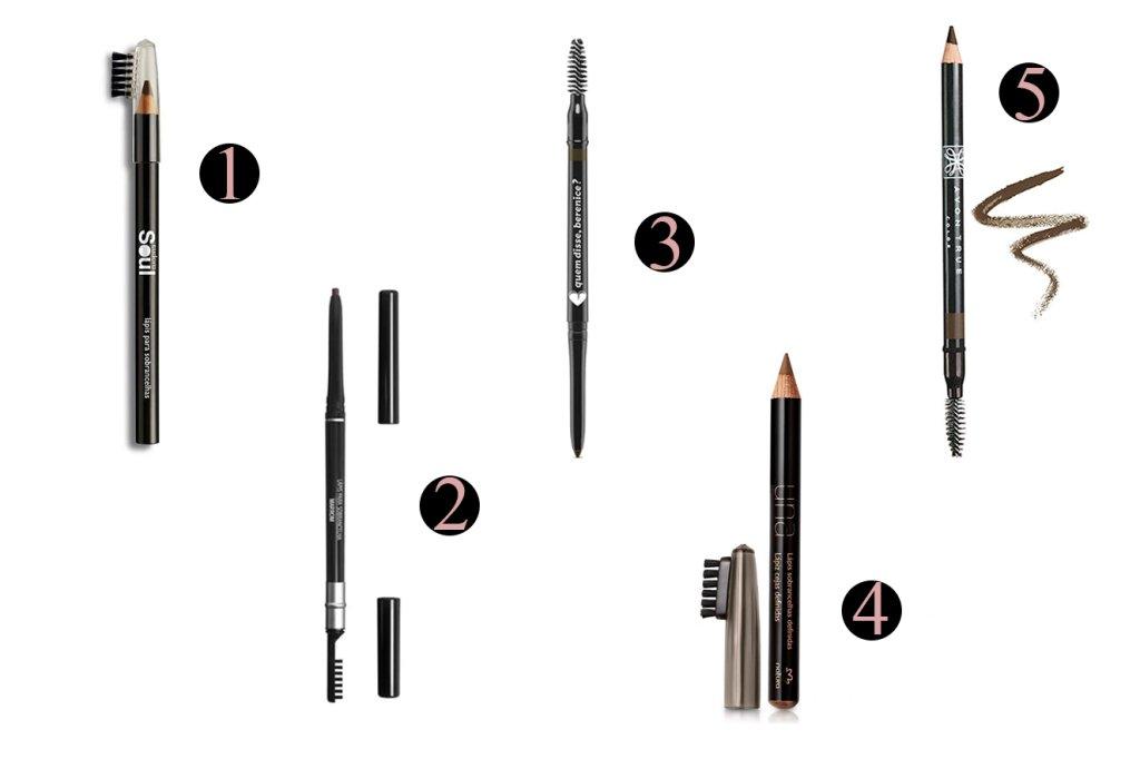 Seleção de lápis para sobrancelha