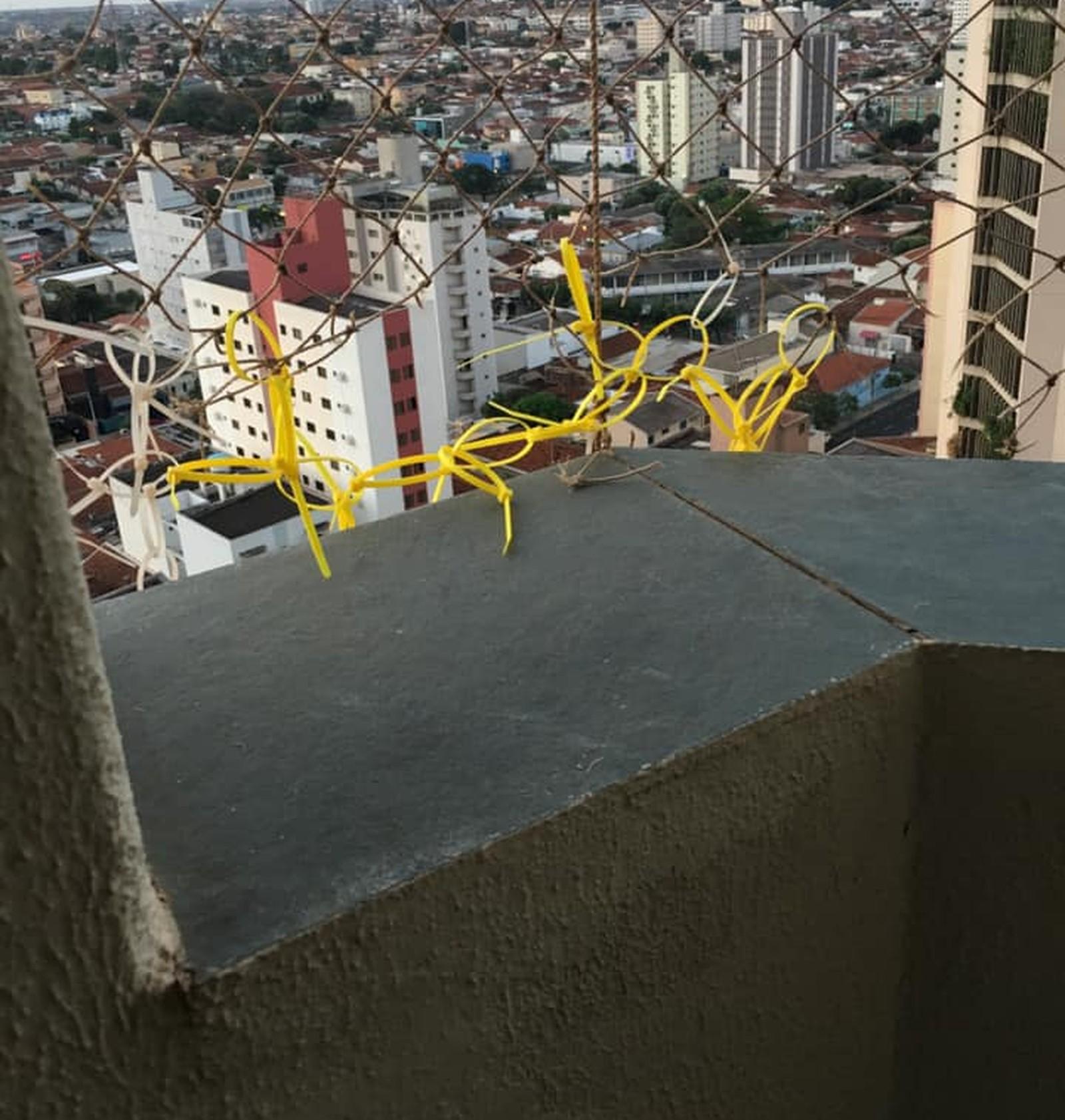 """""""Enforca-gatos"""" estavam sendo usados para consertar rede de proteção que estava rasgada"""