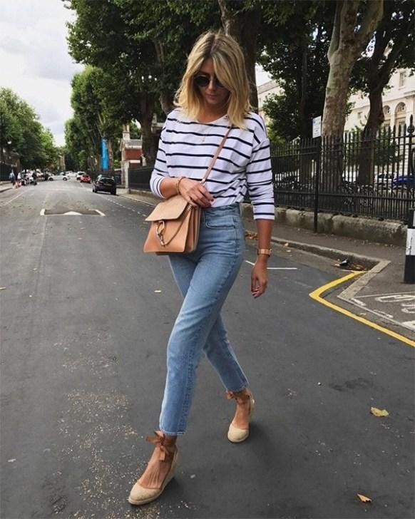 Espadrilha com calça jeans