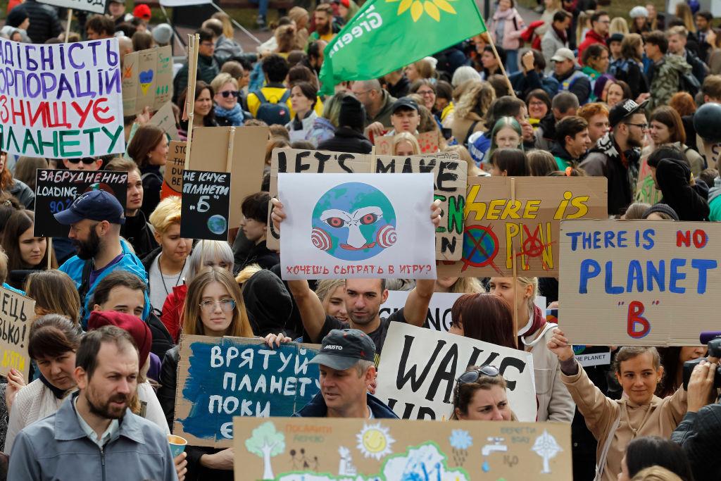 Manifestantes na capital da Ucrânia, Kiev