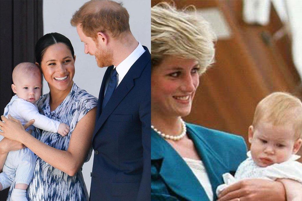 Semelhança entre Lady Di com Harry no colo e Archie choca a internet