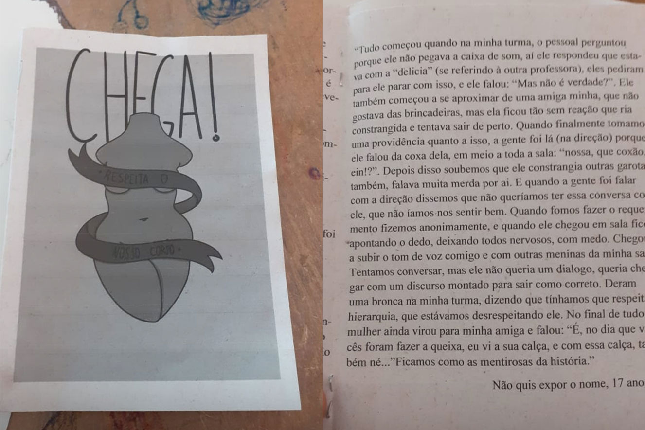 Livro feito pelas estudantes do Cemab traz relatos das vítimas de assédio sexual por parte de professor
