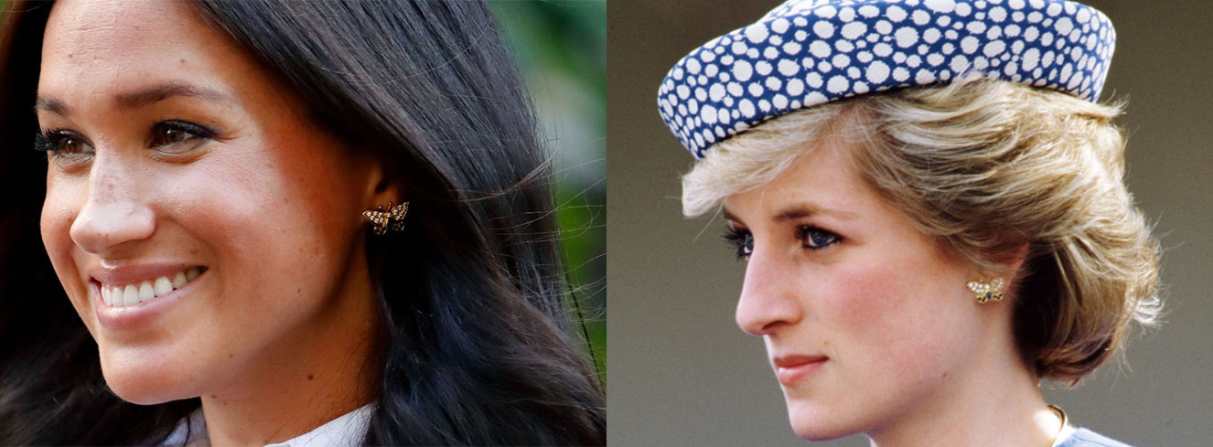 Meghan Markle usou acessórios que pertenciam à Diana no lançamento de sua coleção de roupas