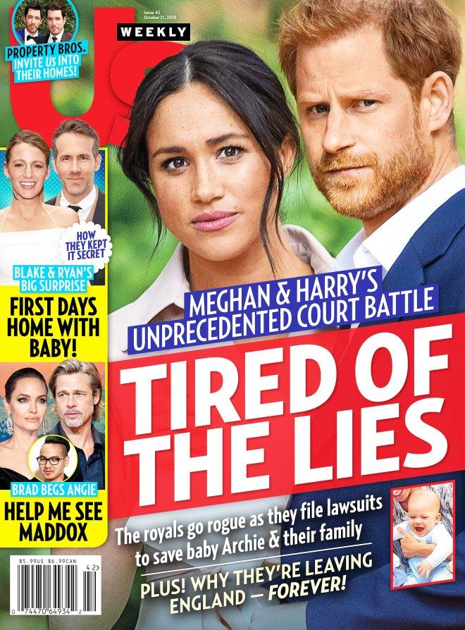 Capa da revista Us Weekly, que afirma que Meghan e Harry estão querendo sair da Inglaterra