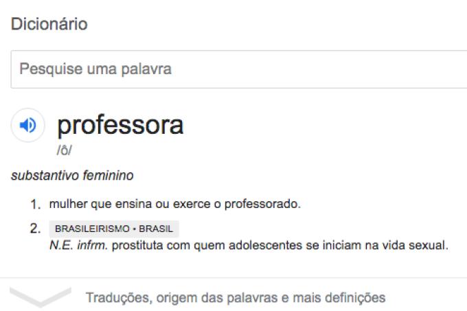 "Google define ""professora"" como ""prostituta com quem adolescente iniciam a vida sexual"""