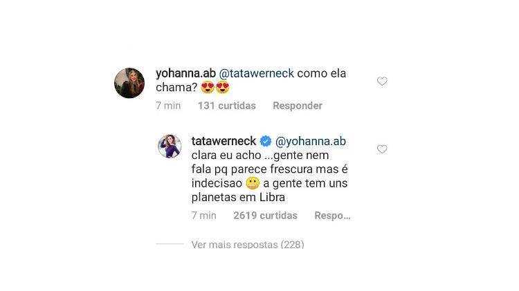 Tata Werneck anuncia possível nome de sua filha, que nasceu na manhã de quarta-feira (23)