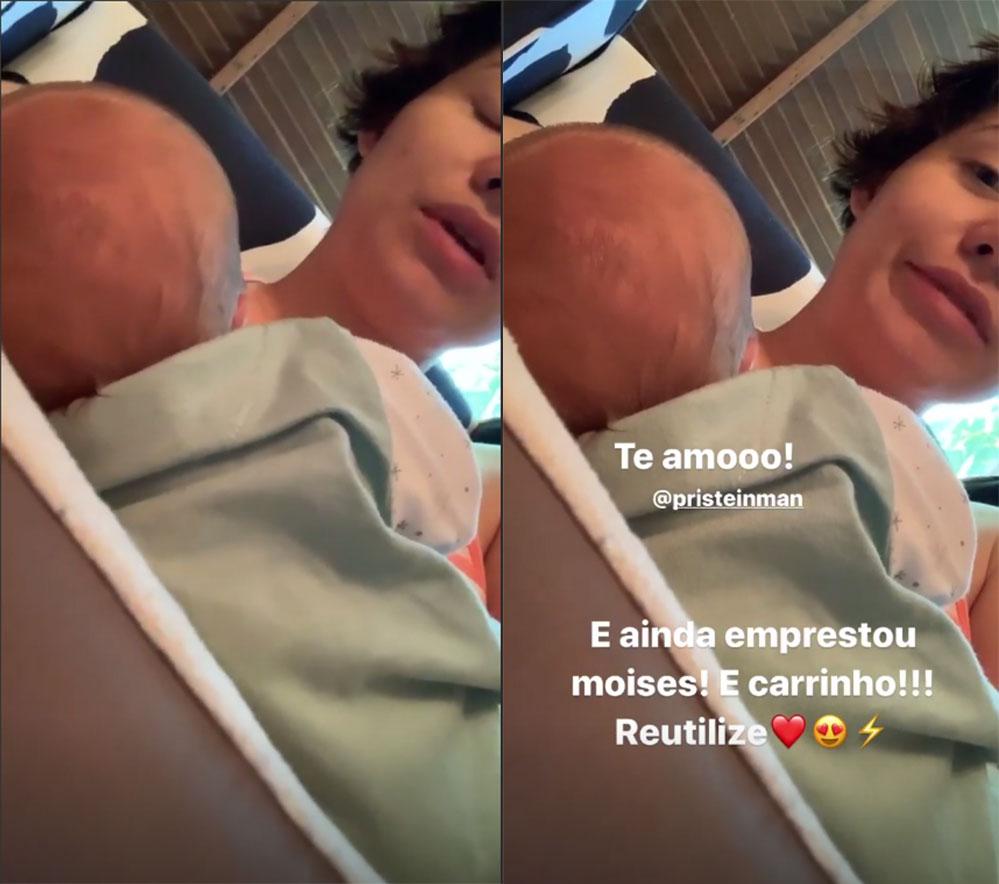 Leticia Colin publica stories amamentando seu filho, Uri