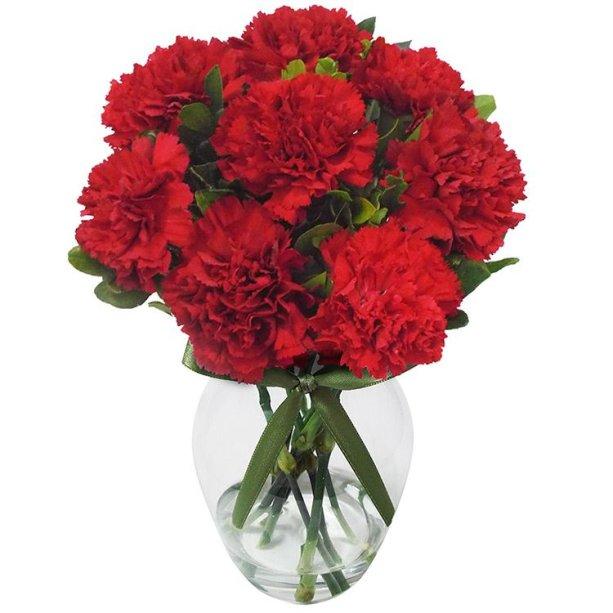 """Arranjo de cravos vermelhos em vaso de vidro, nas medidas 6 x 10 cm. <a href=""""https://www.giulianaflores.com.br/poema-de-cravos-vermelhos/p20426/?src=cross_sell_produtos_semelhantes"""" target=""""_blank"""" rel=""""noopener"""">Giuliana Flores</a>, R$ 131,50"""