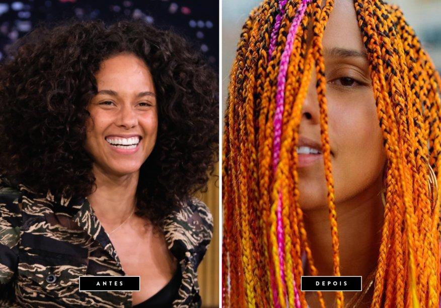 <strong>Julho de 2017 //Alicia Keys</strong> -Ficamos apaixonadas pelo novo visual da cantora norte-americana! As tranças coloridas, super estilosas, não deixaram Alicia Keys ainda mais linda?