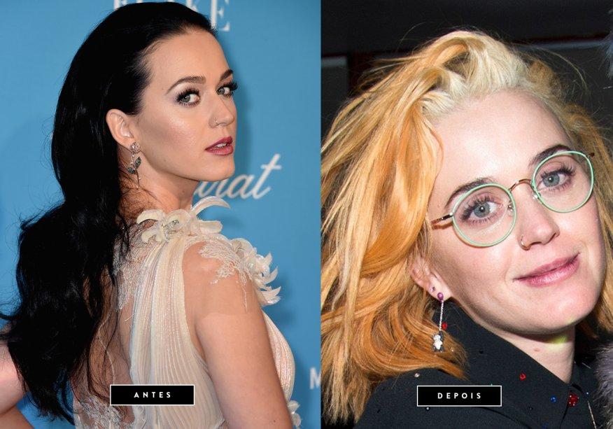 <strong>Janeiro de 2017</strong><strong>//Katy Perry</strong> -A cantora está de visual novo! No final de semana, Katyabandonou os fios pretos e apareceu com o cabelo alaranjado e a raiz platinada. Será apenas um look de transição antes de alguma cor ousada? Vamos acompanhar!