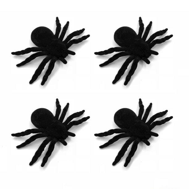 """Kit com quatro aranhas de veludo (10 x 6,5 cm). <a href=""""https://www.maxfesta.com.br/aranha-de-veludo-04-unidades-23674/p?cc=236"""" target=""""_blank"""" rel=""""noopener"""">Max Festa</a>, R$ 13,90"""