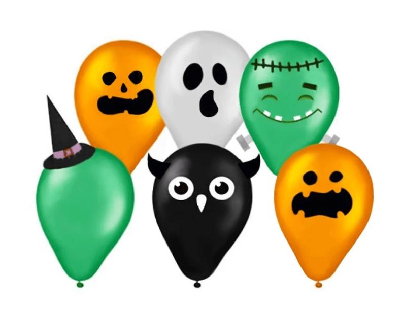 "Kit Balões Monstros, com seis balões, adesivos, chapéu e apliques. <a href=""https://www.doceefesta.com.br/kit-balao-n-halloween-regina-un/p"" target=""_blank"" rel=""noopener"">Doce & Fest</a>a, R$ 19,94"