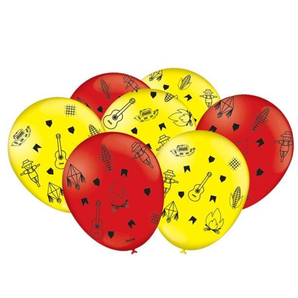 """Bexigas N9 (23 cm inflado). <a href=""""https://www.1001festas.com.br/produto/balao-n9-festa-junina-25-unid-festcolor-101600"""" target=""""_blank"""" rel=""""noopener"""">1001 Festas</a>, R$ 16,90 com 25 unidades"""