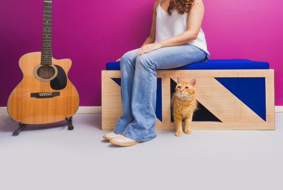 """Banco toalete para gatos, de madeira, com almofada, carpete arranhador e caixa de areia. Mede 1 x 0,45 x 0,40 m. <a href=""""https://cazu.mobi/produto/banco-toalete-caixa-de-areia"""" target=""""_blank"""" rel=""""noopener"""">Cazu</a>, R$ 2900"""