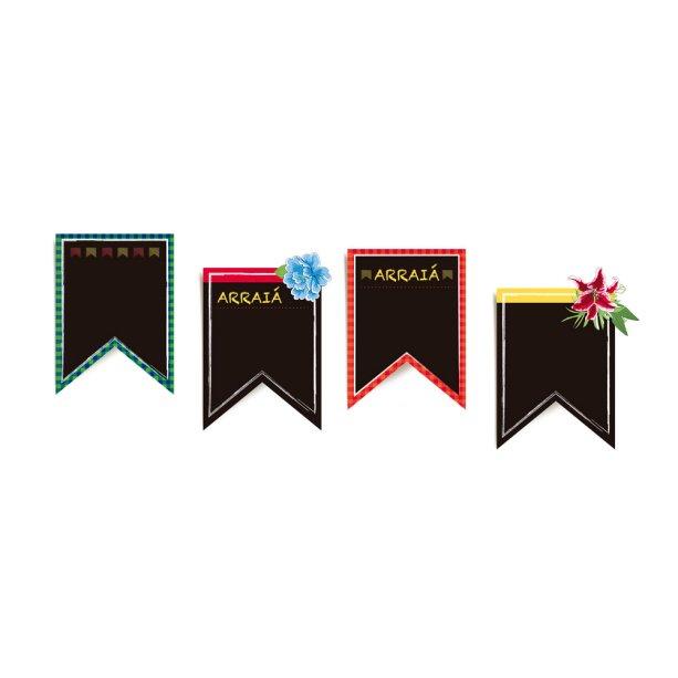 """Plaquinhas decorativas em forma de bandeirola, de papel-cartão (27 x 22 cm cada). <a href=""""https://www.americanas.com.br/produto/23797034/placas-de-sinalizacao-festa-junina-8-unidades-cromus?pfm_carac=festa%20junina&pfm_index=6&pfm_page=search&pfm_pos=grid&pfm_type=search_page%20&sellerId"""" target=""""_blank"""" rel=""""noopener"""">Americanas.com</a>, R$ 13,90 com oito unidades"""