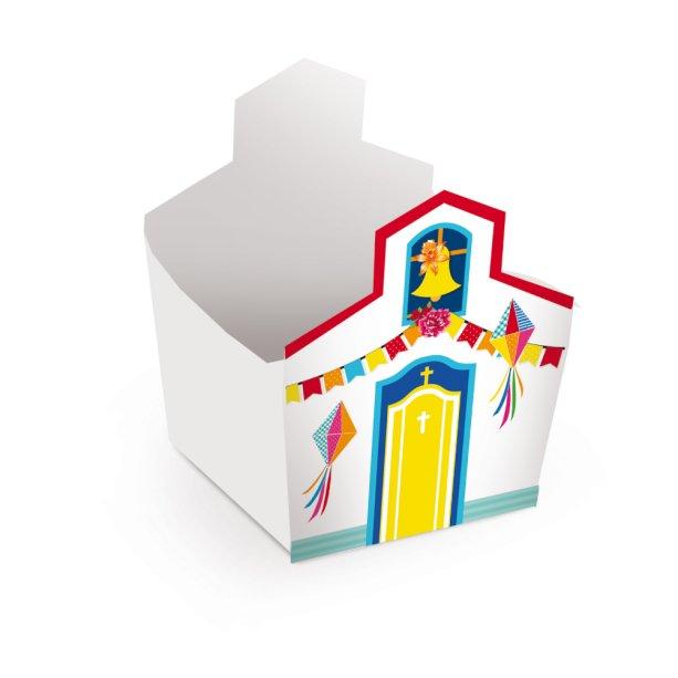 """Cachepot Igreja, de papel cartonad, medidas 8 x 8 x 7 cm. <a href=""""https://www.vemfestejar.com/a2-cachepot-igreja-festa-junina-c-08-unidades-7542/p"""" target=""""_blank"""" rel=""""noopener"""">Vem Festejar</a>, R$ 24,35 com oito unidades"""