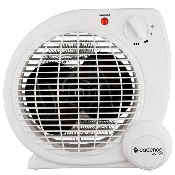 """Aquecedor Termoventilador Auros, da Cadence, com dois níveis de aquecimento e um de ventilação. <a href=""""https://www.cadence.com.br/aquecedor-cadence-termoventilador-auros/p"""" target=""""_blank"""" rel=""""noopener"""">Loja Cadence</a>, R$ 89,90"""
