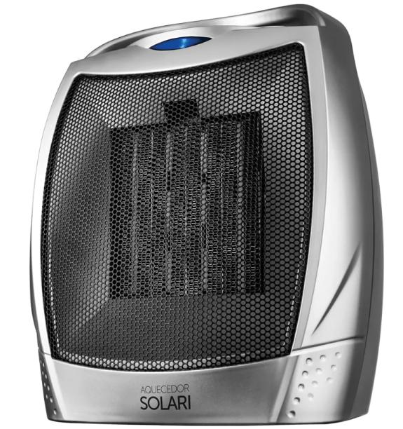 """Aquecedor elétrico cerâmico Solari, da Cadence, com três opções de aquecimento. <a href=""""https://www.cadence.com.br/aquecedor-cadence-eletrico-solari/p"""" target=""""_blank"""" rel=""""noopener"""">Loja Cadence</a>, R$ 159,90"""