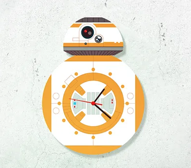 "Relógio de parede Star Wars - BB8. <a href=""https://www.nerdstore.com.br/relogio-de-parede-droide-8rg27/p"">Nerdstore</a>, R$ 59,90"