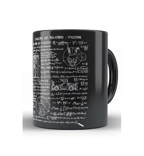 """Caneca Theory of Relativity of Space and Time. <a href=""""https://www.comicstore.com.br/caneca-theory-of-relativity-space-time"""">Comic Store</a>, R$ 44"""