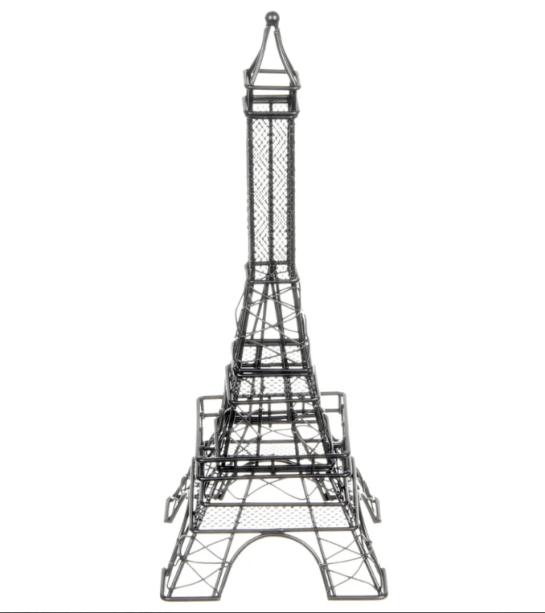 """<span>Adorno Torre Eiffel em aramado, com 30 cm de altura. <a href=""""https://www.tokstok.com.br/adorno-30-cm-preto-torre-eiffel/p?lid=5837d558-6e3d-4b7a-8e45-fa7c1a4a159c"""" target=""""_blank"""" rel=""""noopener"""">Tok&Stok</a>, R$ 175,90</span>"""