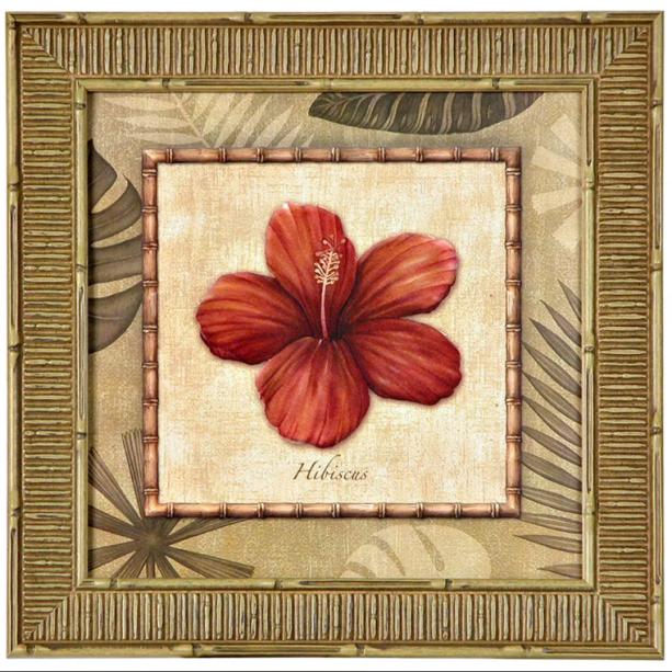 """Quadro Flores com moldura em madeira maciça, na medidas 38 x 38 cm. <a href=""""https://www.tokstok.com.br/i-quadro-38-cm-x-38-cm-natural-multicor-tropical-flores/p"""" target=""""_blank"""" rel=""""noopener"""">Tok&Stok</a>, R$ 75,90"""