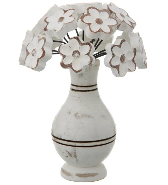 """Adorno vaso de madeira maciça, com 21 cm de altura. <a href=""""https://www.tokstok.com.br/adorno-vaso-branco-natural-florida/p"""" target=""""_blank"""" rel=""""noopener"""">Tok&Stok</a>, R$ 69,90"""