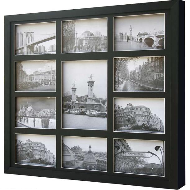 "Porta-retrato Bee Colection para 11 fotos, feito com madeira e vidro, nas medidas 53 x 48 cm. <a href=""https://www.mobly.com.br/bee-collection-11-fotos-53-x-48-cm-preto-13254.html"" target=""_blank"" rel=""noopener"">Mobly</a>, R$ 97,84"