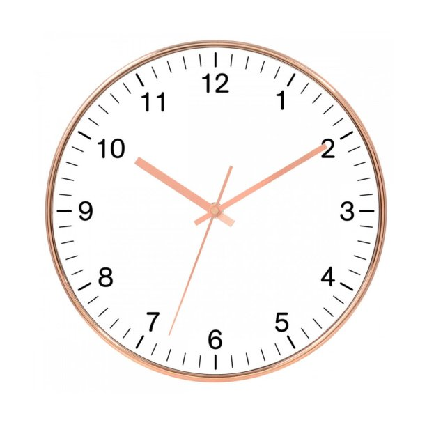 "Relógio de parede de plástico com diâmetro de 25 cm. <a href=""https://www.submarino.com.br/produto/218801636/relogio-de-parede-rose-gold-e-branco-25cm?pfm_carac=rose%20gold&pfm_index=2&pfm_page=search&pfm_pos=grid&pfm_type=search_page%20"" target=""_blank"" rel=""noopener"">Submarino</a>, R$ 56,52"