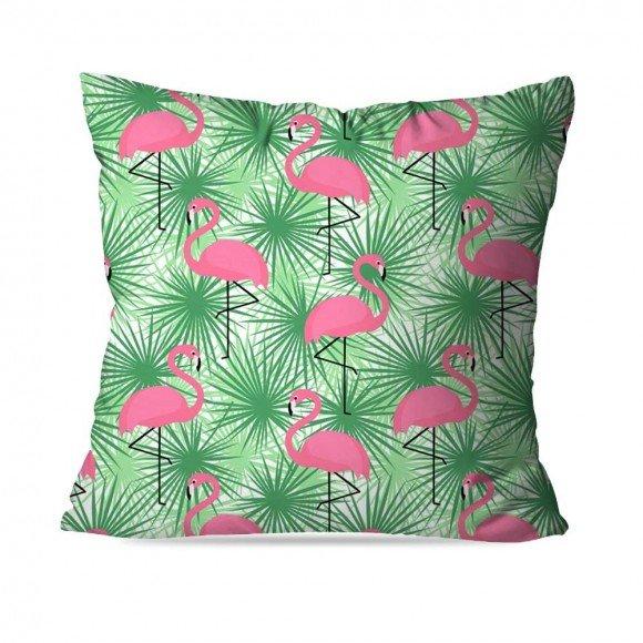 "Almofada Flamingo Green, de poliéster, 35 x 35 cm. <a href=""https://www.wevans.com.br/almofada-avulsa-decorativa-flamingo-green-dec1037bp"" target=""_blank"" rel=""noopener"">Wevans</a>, R$ 29,90"