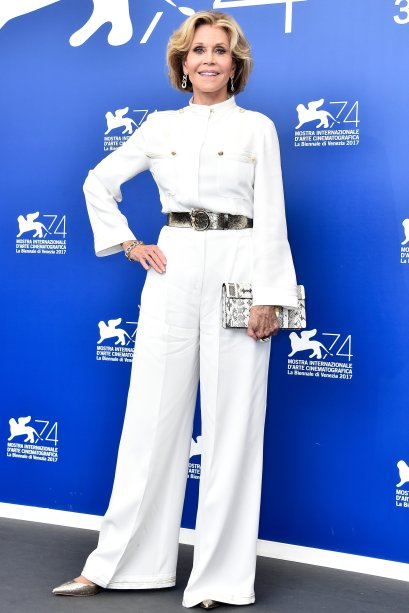 <strong>Jane Fonda</strong> de <strong>Alberta Ferretti</strong> no photocall de <strong>Our Souls At Night</strong>.