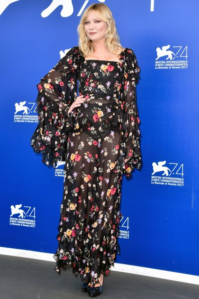 <strong>Kirsten Dunst</strong> de <strong>Rodarte</strong> no photocall de <strong>Woodshock</strong>.
