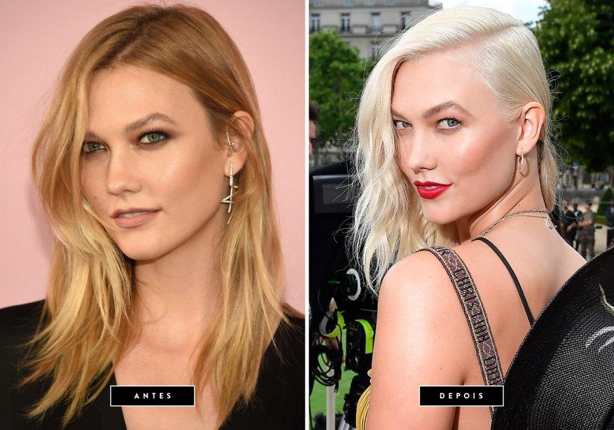 <strong>Julho de 2017 // Karlie Kloss</strong>- A modelo aderiu ao ousado visual platinado. A estreia do look descolorido aconteceu em pleno desfile da Dior durante a Semana de Moda de Alta-Costura.