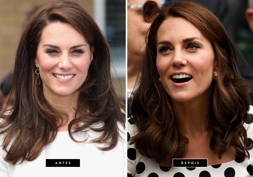 <strong>Julho de 2017 //Kate Middleton</strong> -A Duquesa de Cambridge está de visual novo! Kate debutou o novo corte de cabelo, um pouco abaixo dos ombros, no primeiro dia do torneio de Wimbledon. A modelagem com ondas largas deixou o look ainda mais elegante.