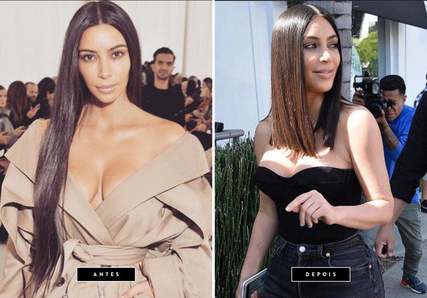 <b>Março de 2017 // Kim KardashianCléo Pires</b> – a empresária andava com cabelos extra longos desde o ano passado, mas agora, resolveu passar as tesouras e adquirir um long bob reto.