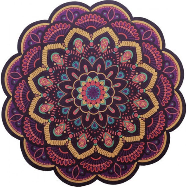 "Tapete Mandala Floral 05, 1,40 m de diâmetro. <a href=""https://www.tapetesmandala.com/product/tapete-mandala-floral-05/"" target=""_blank"" rel=""noopener"">Tapetes Mandala</a>, R$ 349,99"