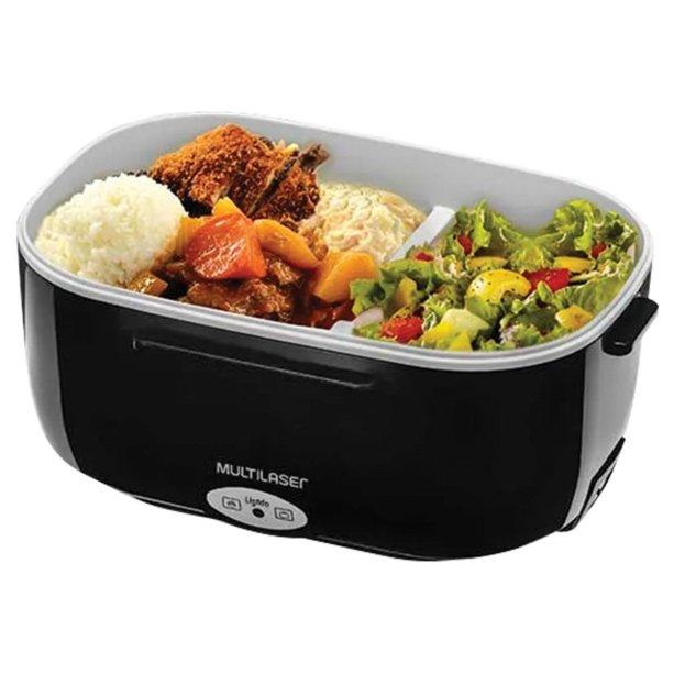 """Aquecedor Multilaser, bivolt, de plástico, com dois compartimentos (o de cima é removível para transportar sem a base elétrica). Medidas:<span>24 x 18 x 11 cm. <a href=""""https://www.americanas.com.br/produto/58068229/aquecedor-alimentos-eletrico-gourmet-bivolt-multilaser-ce071?WT.srch=1&acc=e789ea56094489dffd798f86ff51c7a9&epar=bp_pl_00_go_ep_todas_geral_gmv&gclid=EAIaIQobChMI1NT3n-CE4wIVjIiRCh0Z6AkJEAQYASABEgLbO_D_BwE&i=5ca575d249f937f625c71d78&o=5c9958e16c28a3cb508f6708&opn=YSMESP&sellerId=1698836000174&voltagem=Bivolt"""" target=""""_blank"""" rel=""""noopener"""">Americanas.com</a>, R$ 62,95</span>"""