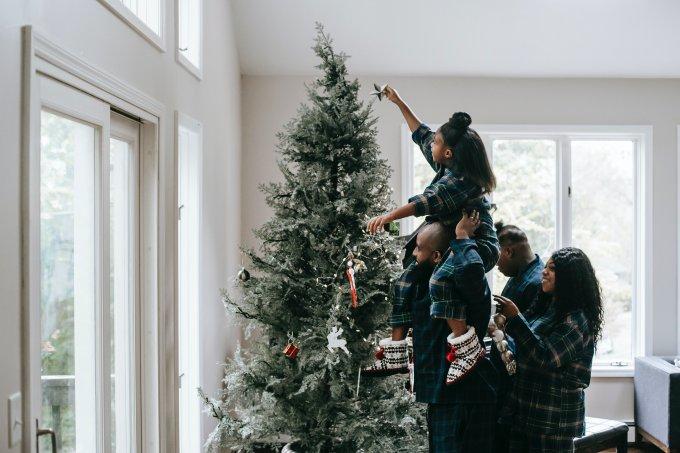 foto família Natal árvore