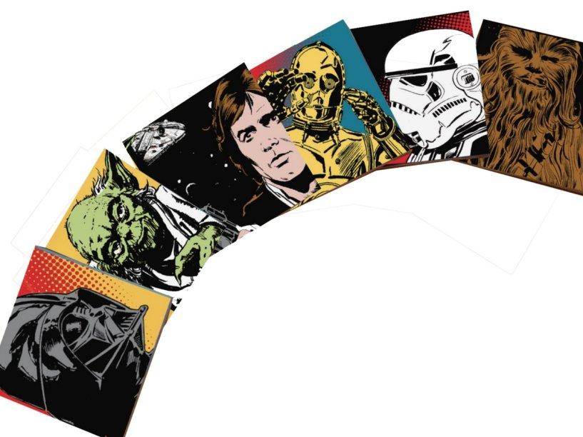 "Porta-copos Star Wars, de MDF, jogo com seis unidades de 10 x 10 cm.<a href=""https://www.elo7.com.br/porta-copos-star-wars/dp/616D52"" target=""_blank"" rel=""noopener""> Elo 7 (Lpeople</a>), R$ 23,11"