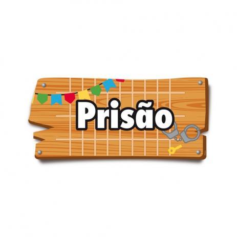 """Plaquinha Prisão, de papel, medidas 37,2 x 17 cm. <a href=""""https://www.magazineluiza.com.br/6-placas-de-sinalizacao-prisao-372x17-festa-junina-cromus/p/5852918/am/ajun/"""" target=""""_blank"""" rel=""""noopener"""">Magazine Luiza</a>, R$ 11,90 com seis"""